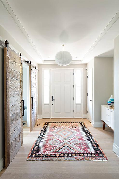 Contemporary Foyer Rugs : Pink and black foyer rug contemporary entrance