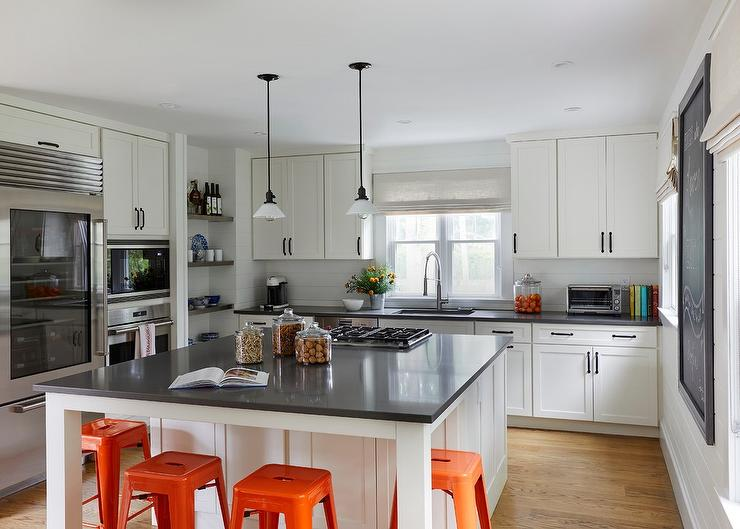 White Square Kitchen Island with Orange Tolix Stools