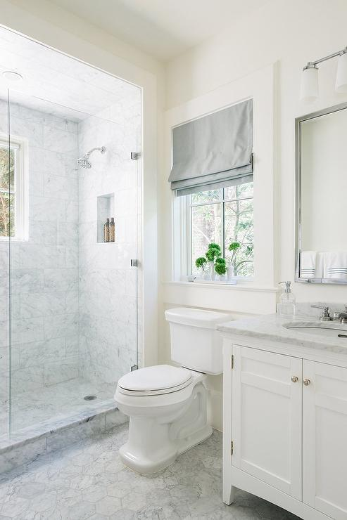 White Bathroom With Platinum Gray Roman Shade