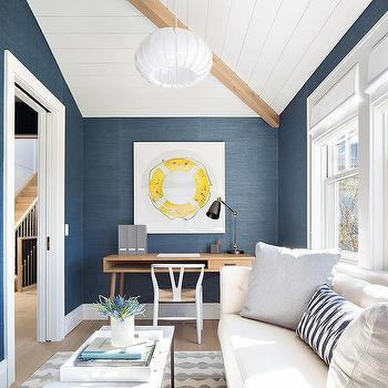 White And Blue Home Office With White Sofa