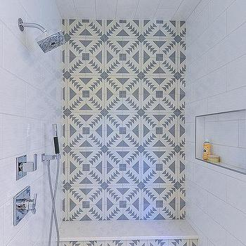 White Shower Walls With Black Shower Floor Transitional