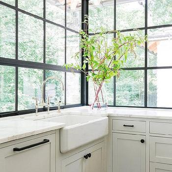 Farmhouse Sink Under Steel Windows