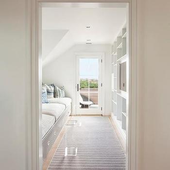 Long Cottage Kids Room with Gray Built In Beds & Bedroom Door Transom Window Design Ideas