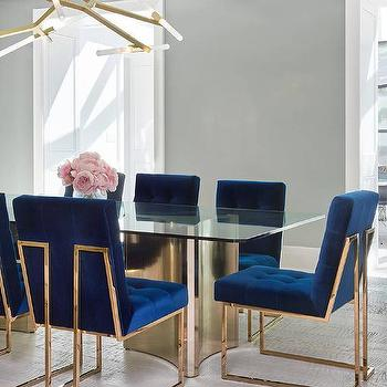 Blue Fabric Dining Chairs blue fabric and brass dining chairs design ideas