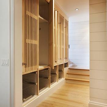 Metal mesh mudroom locker doors with brass hardware for Entryway lockers with doors