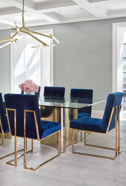 Sapphire blue velvet tufted dining chairs contemporary for Dining room velvet chairs