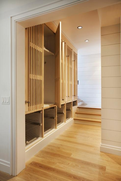 Wood slat mudroom locker doors cottage laundry room for Wood lockers with doors