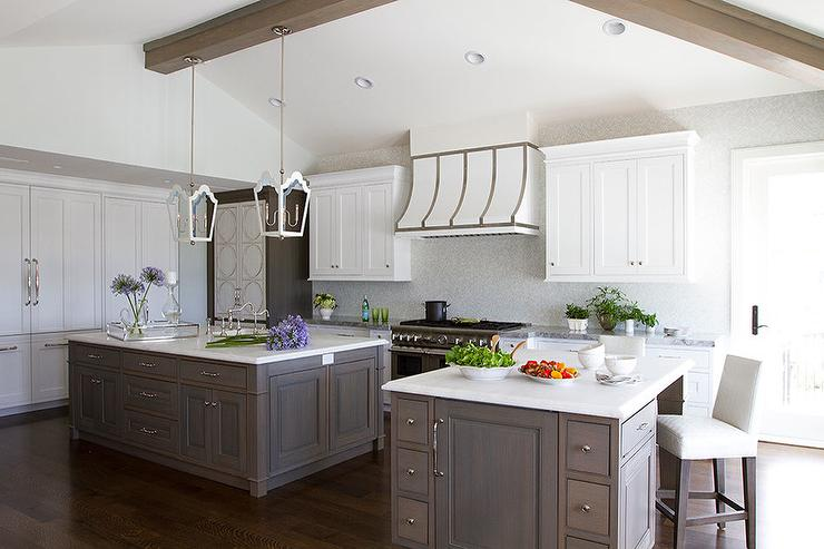 Kitchen With Two Gray Wash Islands