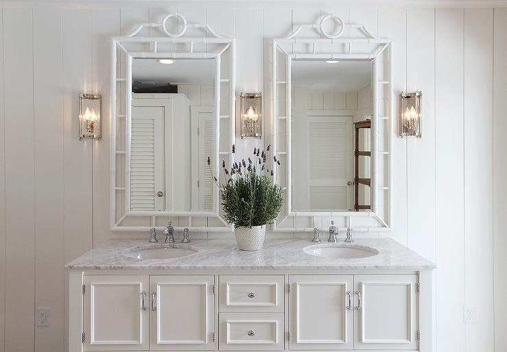 Bathroom Mirrors White: Two White Faux Bamboo Mirrors With Ivory Washstand