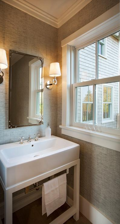 White and Gray Small Powder Room - Cottage - Bathroom