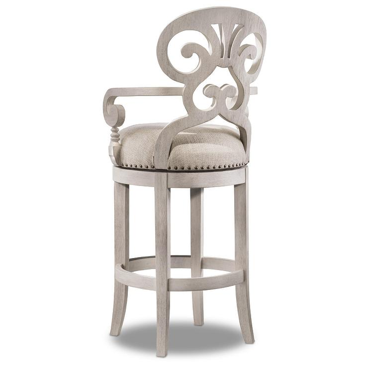 Mimosa Weathered White Swivel Bar Stool