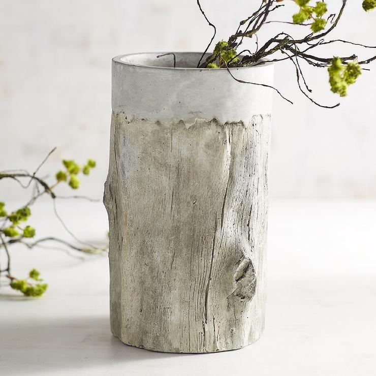 Faux Birch Concrete Vase