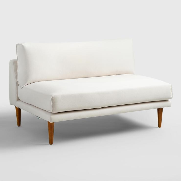 White 2 Piece Armless Sectional Sofa