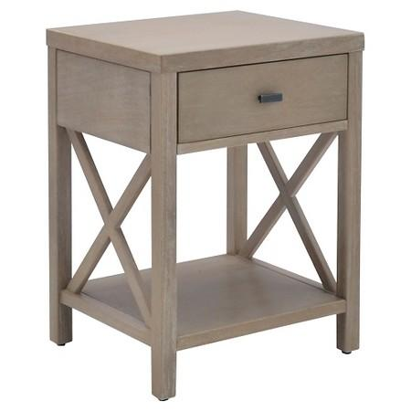 Brown Rectangular Rubberwood Accent Table