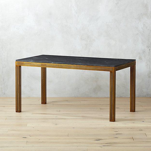 Ideal Perforated Black Marble Top Desk OS09