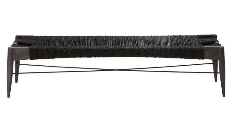 Wrap Large Black Jute Rope Bench