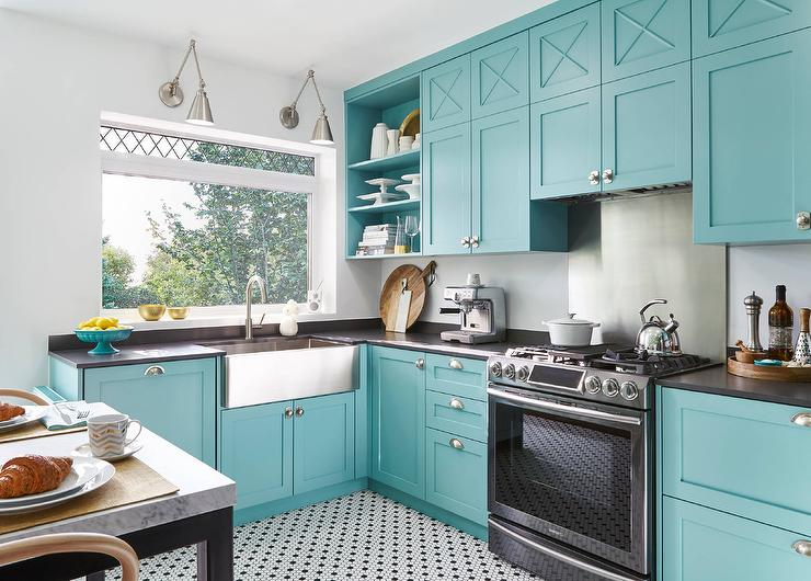 Blue Kitchen Cabinets with Black Quartz Countertops ...