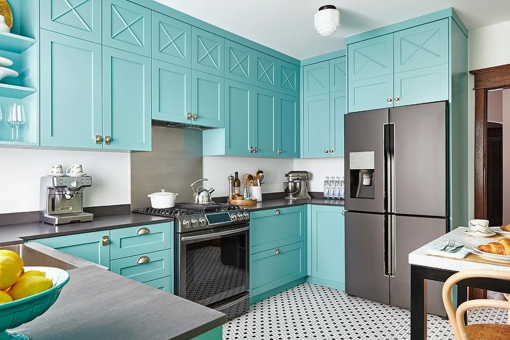 blue kitchen cabinets with vintage hex floor tiles - contemporary
