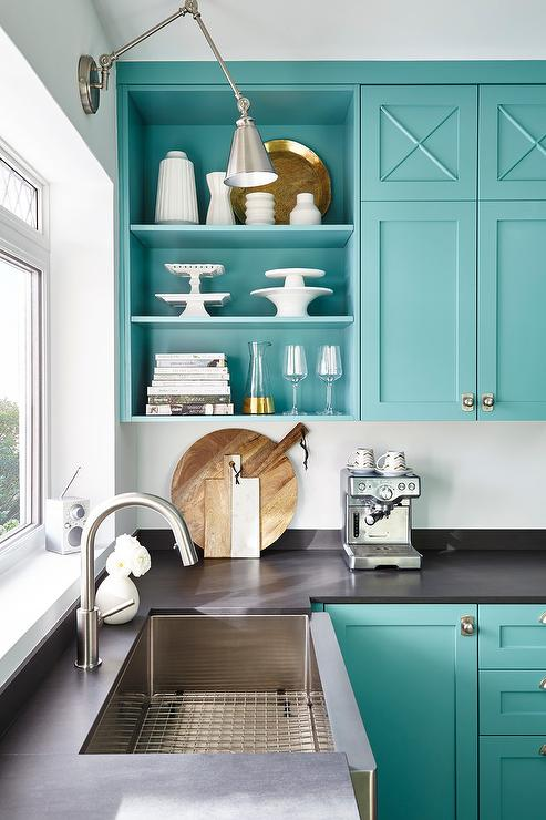 Blue Kitchen Cabinets With Stainless Steel Apson Sink