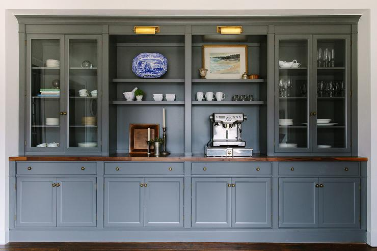 Dark Gray Dining Room Cabinets And Shelves