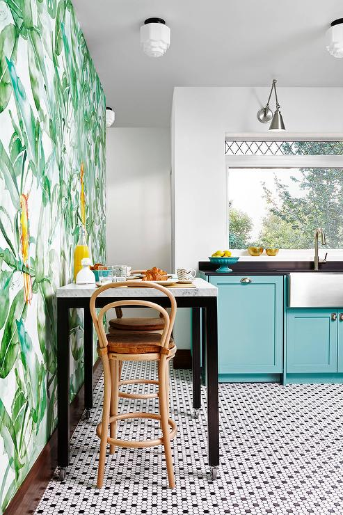 Tall eat in kitchen table design ideas contemporary eat in kitchen features walls clad in lara costafreda find parrots wallpaper lined with a square black and white dining table and natural oak workwithnaturefo
