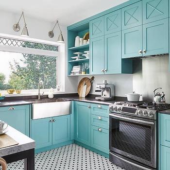 Black Quartz Countertops - Cottage - kitchen - Beth Haley Design