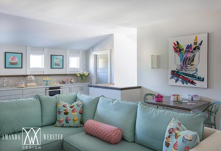 Admirable Aqua Blue Sectional With Cupcakes Pillows Cottage Living Evergreenethics Interior Chair Design Evergreenethicsorg
