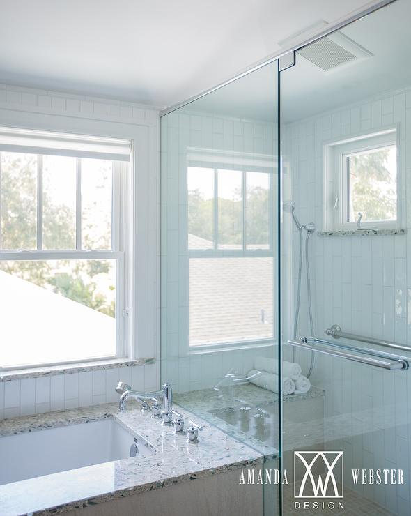 Beach Style Bathroom with Recycled Glass Bathtub Deck - Cottage ...