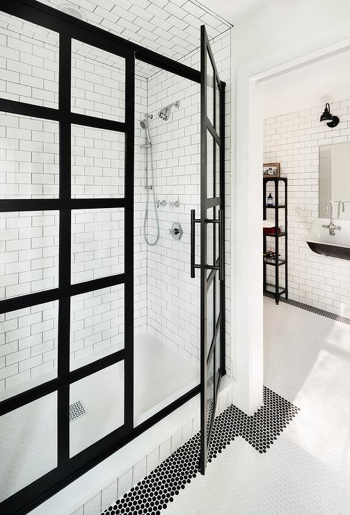 Bathroom With Black Penny Tiles Contemporary Bathroom