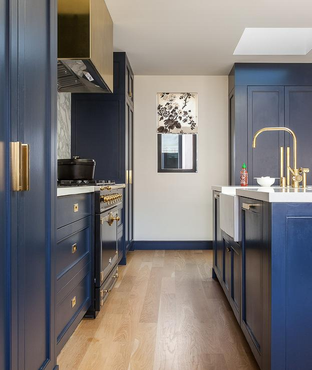 Blue Kitchen Cabinets With Vintage Brass Inset Pulls