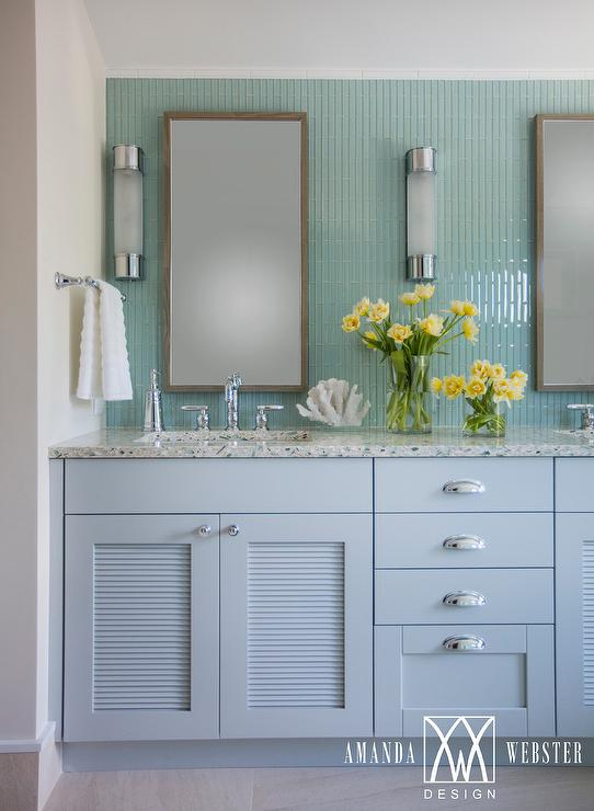 Gray And Blue Recycled Glass Countertops Cottage Bathroom - Louvered door bathroom vanity