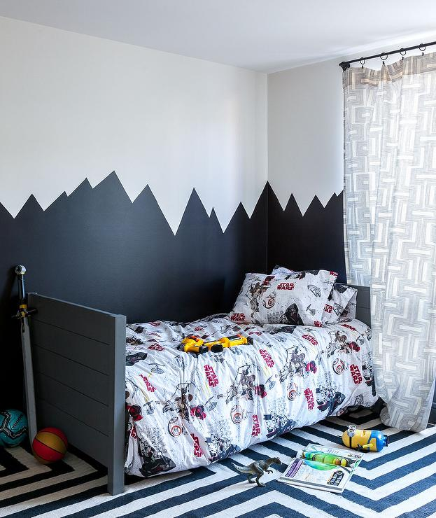 Charcoal Gray Plank Twin Bed with Star Wars Bedding - Contemporary ...