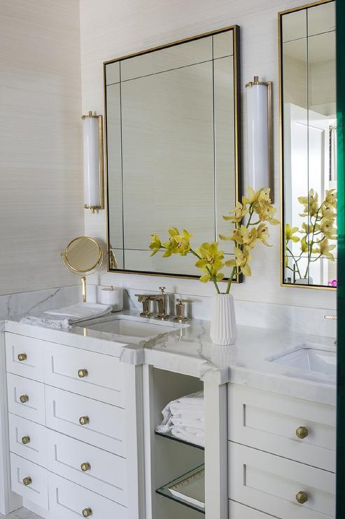 brass vanity mirror with calliope tall bath lights transitional bathroom. Black Bedroom Furniture Sets. Home Design Ideas
