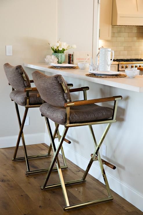 Pleasant Vintage Brass Folding Bar Stools With Brown Linen Cushions Bralicious Painted Fabric Chair Ideas Braliciousco