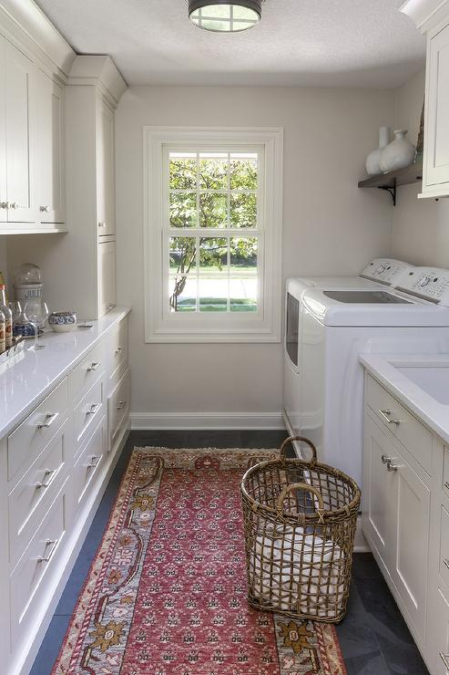 Traditional Galley Style Laundry Room And Bar