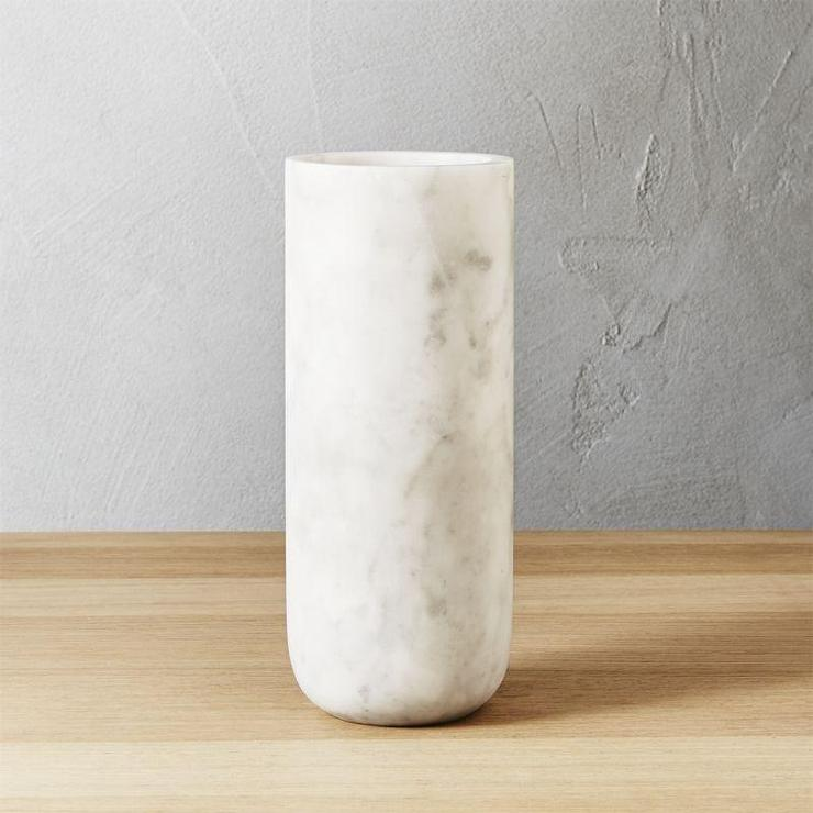 Cylinder White And Gold Marble Vase
