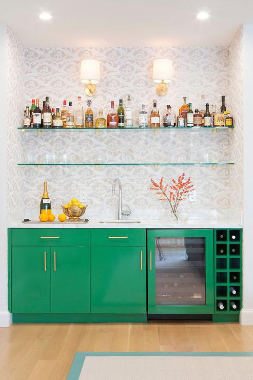 Emerald Green Bar Cabinets
