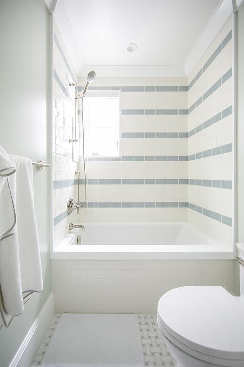 White And Blue Striped Shower Tiles Cottage Bathroom