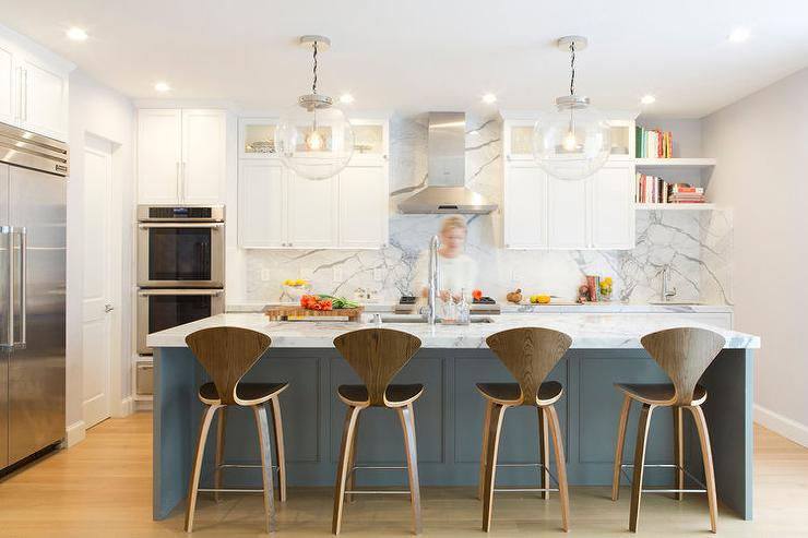 Dark Gray Island With Cherner Counter Stools