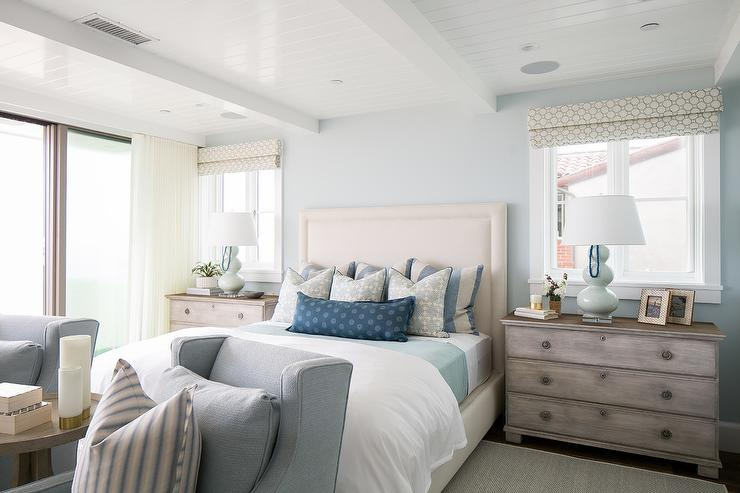 Blue and gray beach cottage bedroom cottage bedroom for Beach house bedroom designs