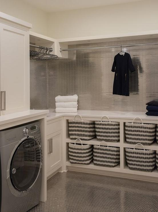 Ivory Laundry Room With Stainless Steel Mini Tile Backsplash Contemporary Laundry Room