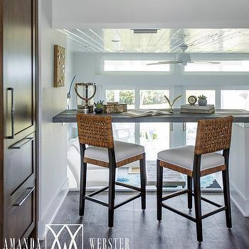 Beach Style Home Office With Gray Floating Desk