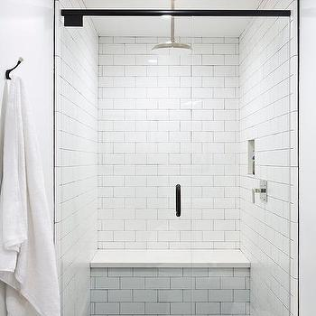 Charmant White Shower Walls With Black Hex Shower Floor Tiles