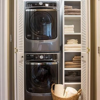 Closet With Stacked Washer And Dryer