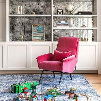 Antique Mirrors On Back Of Built In Shelves View Full Size. A Hot Pink  Velvet Chair ...