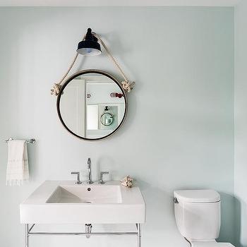 Kid Bathroom Rope Hanging Mirror Design, Rope Hanging Vanity Mirror
