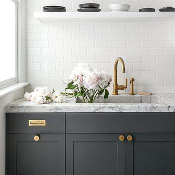 Dark Gray Kitchen Cabinets With All White Subway Tiles