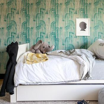 Turquoise Crescent Bedroom Wallpaper Design Ideas