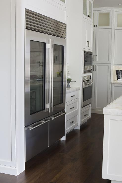 Glass Front Fridge Doors Transitional Kitchen