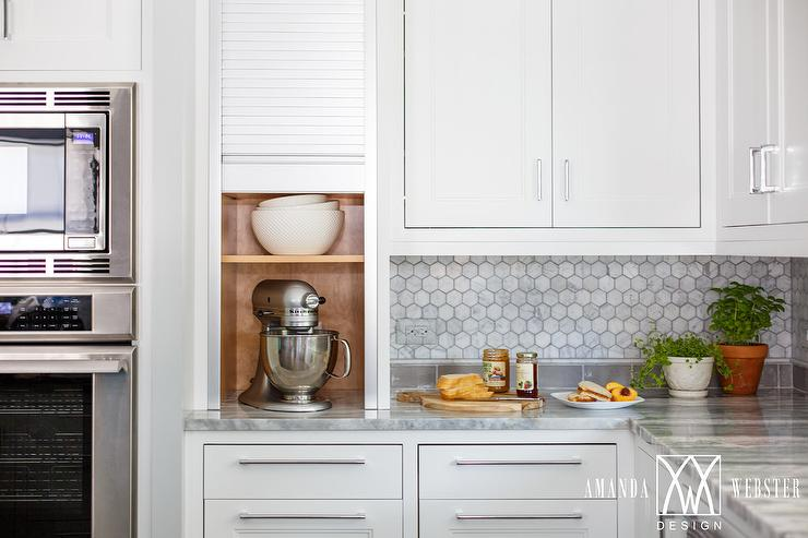 White cabinets with white marble hex backsplash cottage for Small kitchen in garage